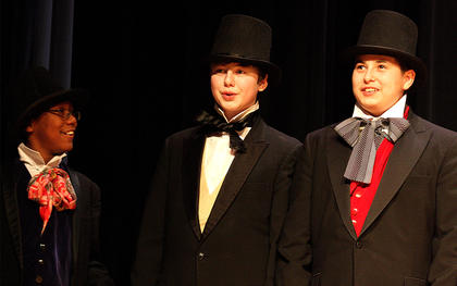 From left Brennan Keene, Spencer Riggs and Matthew Paul sing during the performance.
