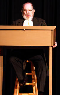 Lynn D. Farris plays the part of Scrooge.