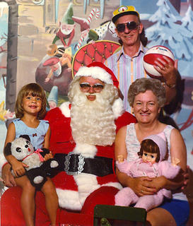 This photo was taken in Santa Claus Land in Indiana. Pictured is Kara Rucker with her grandparents, Don and Marie Coleman.