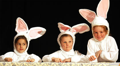 "Kentucky Classic Theatre's youngest actors were on stage in March for a production of ""Peter Rabbit."" Pictured, from left, are Elizabeth Spurling as Cottontail, Rayelyn Dozier as Mopsy, and Lillian Wilkerson as Flopsy."