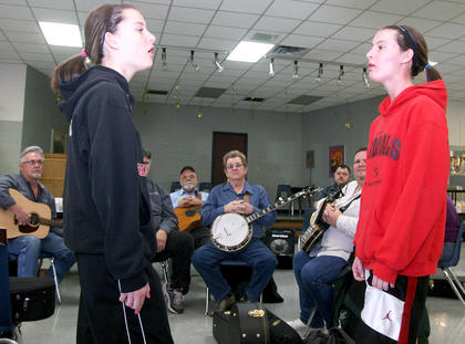 Sisters Katelyn and Samantha Daugherty were invited to add their vocal talents to a jam session Saturday afternoon in the Marion County High School cafeteria.