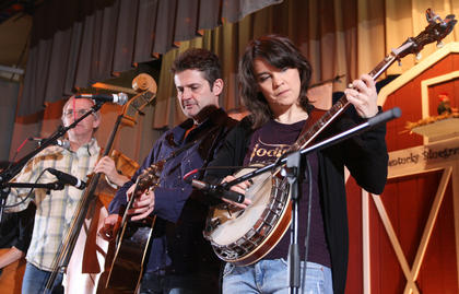 Kristin Scott Benson (banjo), Terry Eldredge (guitar) and Terry Smith (bass) of The Grascals perform during Saturday night&#039;s dinner show at the 2012 Kentucky Bluegrass Music Kickoff.