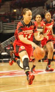 Makayla Epps dribbles up the court last Wednesday night during the McDonald's All American Game at the United Center in Chicago.