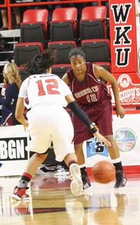 Junior Patrice Tonge applies defensive pressure in the Sweet 16 final on Saturday night.