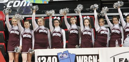 The Marion County High School cheerleaders show their spirit during the game against Montgomery County.