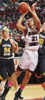 Junior Alexus Calhoun puts up a shot during the game against Notre Dame.