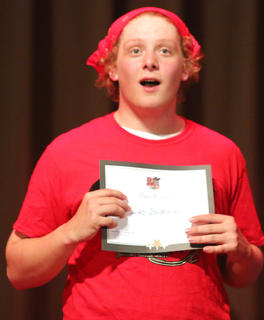 Luc Buckman looks surprised after winning a poise award.