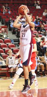 Sophomore Alexus Calhoun puts up a shot in the game against Lincoln County.