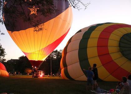 Hot air balloons light up the night at Graham Memorial Park in Lebanon during the The Yellowstone Balloon Glow Saturday evening. The event was sponsored by Limestone Branch Distillery.