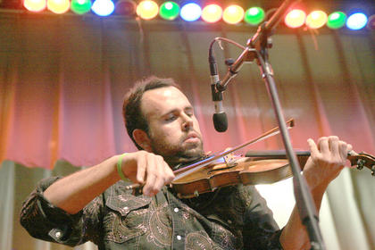 Jeremy Abshire plays the fiddle during The Grascals performanceat the Kentucky Bluegrass Music Kickoff.