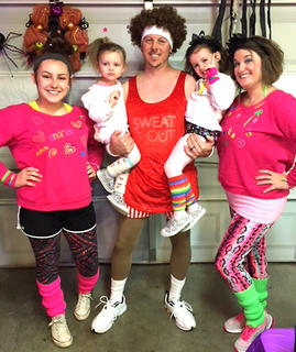 A 1980s fitness scene came to life on Halloween for the Bland family. Pictured, from left, are Andrea Patton, Olivia Bland, Brian Bland, Lucy Bland and Amy Bland.
