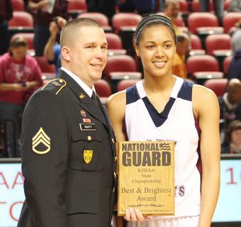 Junior Kyvin Goodin-Rogers was selected as the National Guard Player of the Game in the first round game against Walton-Verona.  Goodin-Rogers scored 15 points in the game.