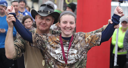 The Turtleman posed for a number of photos with the winners. Here, he poses with Abby Miles after she took third place in the 15-19-year-old female division.