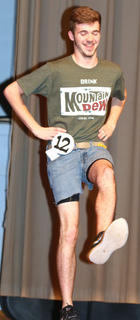 """Justin Overstreet performs his own """"evolution of dance"""" routine during the talent competition."""