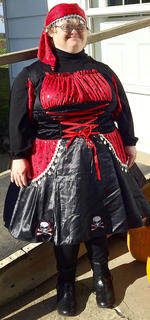 Tammy Downs is dressed as a beautiful pirate.