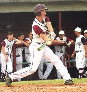 Brandon Lee records a hit against Hart County in the regional tournament.