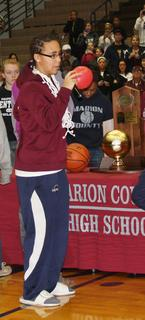 Senior Makayla Epps addressed the crowd at the welcome home celebration at the Roby Dome.