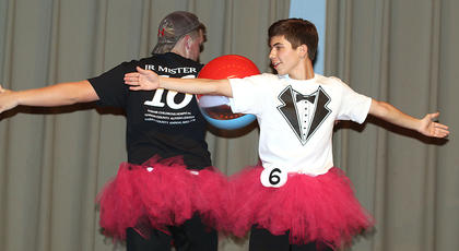 Dylan Cambron and Jared Tutt perform a beach ball ballet routine together during the talent competition.