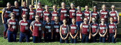 #12: Pictured are both the Marion County 8-10 and 10-12 All-Stars, who both clinched the state title last week. Pictured are, front row from left, Emily Tungate (12U), Rose Caldwell (10U), Reece Caldwell (10U), Kaylee Reed (10U), Gracie Benningfield (10U), Makenzie Gordon (10U), Kendra Gaddie (10U), Laurel Cochran (10U), Gracyn Mattingly (10U), Maggie Jo Benningfield (10U), Chloe Cox (10U), back row from left, are Lily Thompson (12U), Emma Sullivan (12U), Ann Taylor Rakes (12U), Marissa Nulle (12U), Brooklynne Bland (12U), Aubrey Knopp (12U), Leah Wright (12U), Emily Clark (12U), Jordan Browning (12U), Marybeth Overstreet (12U), Caitlynn Brady (10U), Keira Atkinson (10U), Charleigh Browning (12U) and Brooklyn Gaddie (12U)