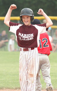 Lebanon hosted the state Little League baseball tournament. Jaron Morris celebrates after connecting on a double during a game.