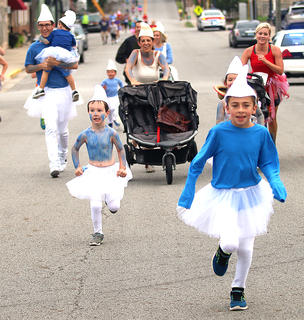 Spalding Avenue was invaded by Smurfs Saturday morning during the Back Tutu School Run/Walk.