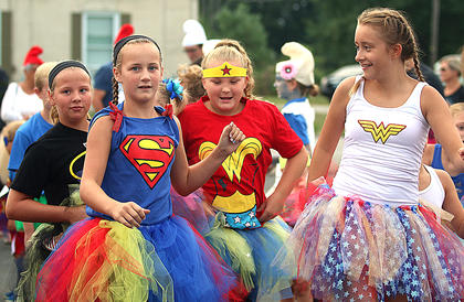 These super girls were having a great time during the Back Tutu School event Saturday. They are pictured, from left, Kate Ballard, Macaul Bryan, Lily Smith and Madison Johnson.