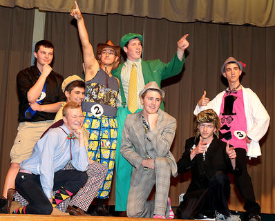 Pictured is the MI-6 group striking a pose at the end of the poise competition. They are, front row from left, Matthew Huff, Joe Craig Riggs and Addison Stiles; back row from left, are Michael Richardson, Dylan Cambron, Sam Beyer, John May and Ben Buckman.