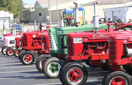 Tractors line the parking lot at the Dave R. Hourigan Building.