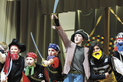 "Calvary Elementary School students performed ""Pirates! The Musical!"" Tuesday, Jan. 25, prior to the Marion County Board of Education's regular monthly meeting. Pictured, from left, are Brandon Miles, Logan Peterson, Eli Rakes, Houston Rakes, Bobby Wilson, Santana Alvarez and Amber Brady."