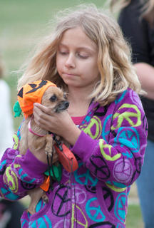 Erica Elliott trotted with this pumpkin pup for most of the event.