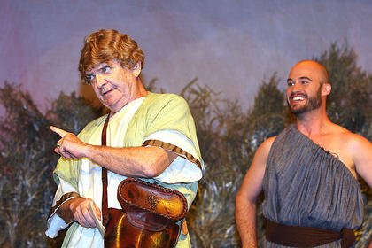 Peter Quince, played by Lynn D. Farris, and his fellow players gather to produce a stage play for the Duke and the Duchess. Nick Bottom, played by J.P. Allen, gets the part of the main role of Pyramus. Nick Bottom is over-enthusiastic and wants to dominate others by suggesting himself for the characters of Thisbe, The Lion and Pyramus at the same time.