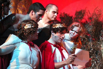 In Athens, Theseus, Hippolyta and the lovers watch the six workmen perform Pyramus and Thisbe. Given a lack of preparation, the performers are so terrible playing their roles to the point where the guests laugh as if it were meant to be a comedy, and afterward everyone retires to bed.