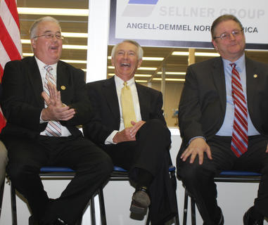 In April, State Rep. Terry Mills, Gov. Steve Beshear and State Sen. Jimmy Higdon were among the officials present for the announcement of a $1 million grant to assist Angell-Demmel North America with an expansion project.