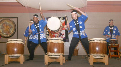 The Cincinnati-Dayton Taiko Drummers in action.