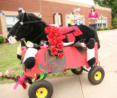 At the end of the parade, the floats were returned to their classrooms. Alyson Stine's class created this float.