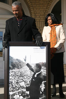 Terry Williams and Cheryl Body wait for the start of the Martin Luther King March Jan. 15 at the Lebanon Post Office. The march is organized by the United Concerned Citizens Organization.