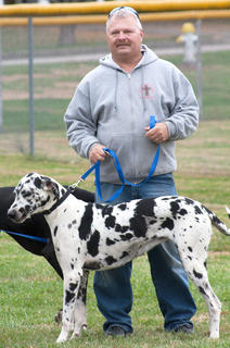 Tim Abell stands with his dog, Zoe, right before the biggest dog competition. 