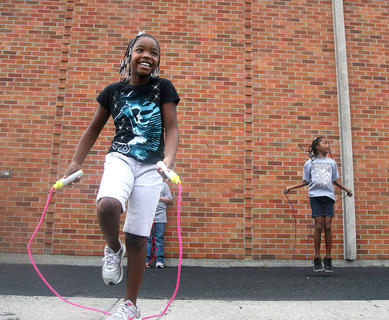 D&#039;Asya Spalding competes in the jump rope contest at St. Augustine.