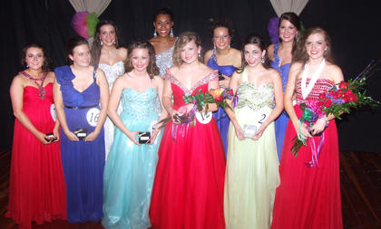 All the award winners gathered for a photo after the 50th Marion County Distinguished Young Woman program Saturday night at Marion County High School.