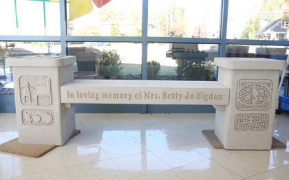 Another view of the Betty Jo Higdon memorial bench.