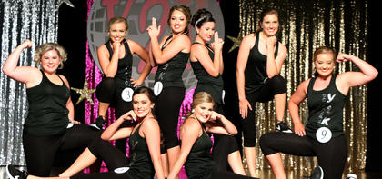 Pictured are 'Backstreet' Girls. They are, sitting, from left, Callie Gribbins and Chloe May; kneeling are Laney Hall and Claire Higdon; and standing, from left, are Kaylee Thomas, Isabella Glasscock, Madison Johnson and Olivia Edlin.