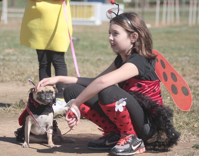 "Gismo, dressed as a ""lady pug"", and Jasmine Benningfield won the pet-owner look-alike contest."