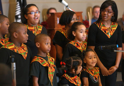 The youth choir from Holy Rosary Church in Springfield sings songs of praise.
