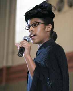 J'Anna Jones, 13, of Elizabethtown gave a dramatic reading of a poem from the perspective of Rosa Parks.