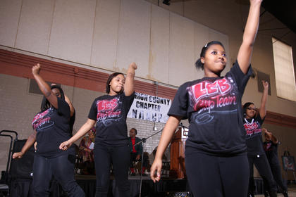 From left, Shanda Washington, Shay Cornelius, Charlette Smith and Daija Ellis of the Marion County Youth Center perform a step routine during the Black History Celebration Feb. 27 at Centre Square in Lebanon.