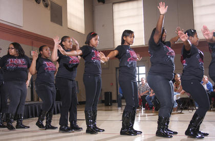 Members of the step team pictured are (from left) Aiesha Baker, Mashayla Furmon, Shania McAtee, Shay Cornelius, Shanda Washington, Charlette SMith and Charay Smith.