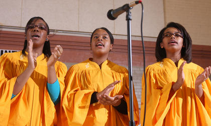 The youth choir from Holy Rosary Catholic Church sings during the celebration.