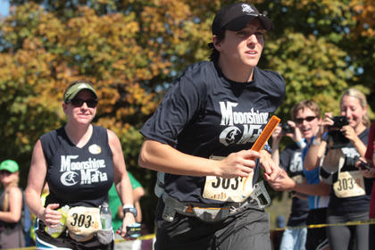 The 2011 Bourbon Chase passed through Marion County Friday afternoon with stops at Maker&#039;s Mark and Lebanon. Two hundred fifty teams participated in this year&#039;s relay, which covers 200 miles. Breean Wallas of the Moonshine Mafia takes off after receiving the bracelet from teammate Holcomb Mosley. 