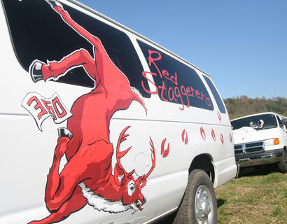 The Red Staggers decorated their van in the spirit of the event.