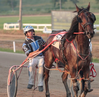 Doc's Zilla and driver James Stiltner take a slower trip around the track after winning a race for three-year-old colts.